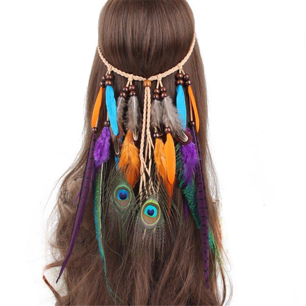 Get Quotations · FIYA Peacock Feather Fascinator Native American Tassel  Headband Hair Ornament 2a318aee747