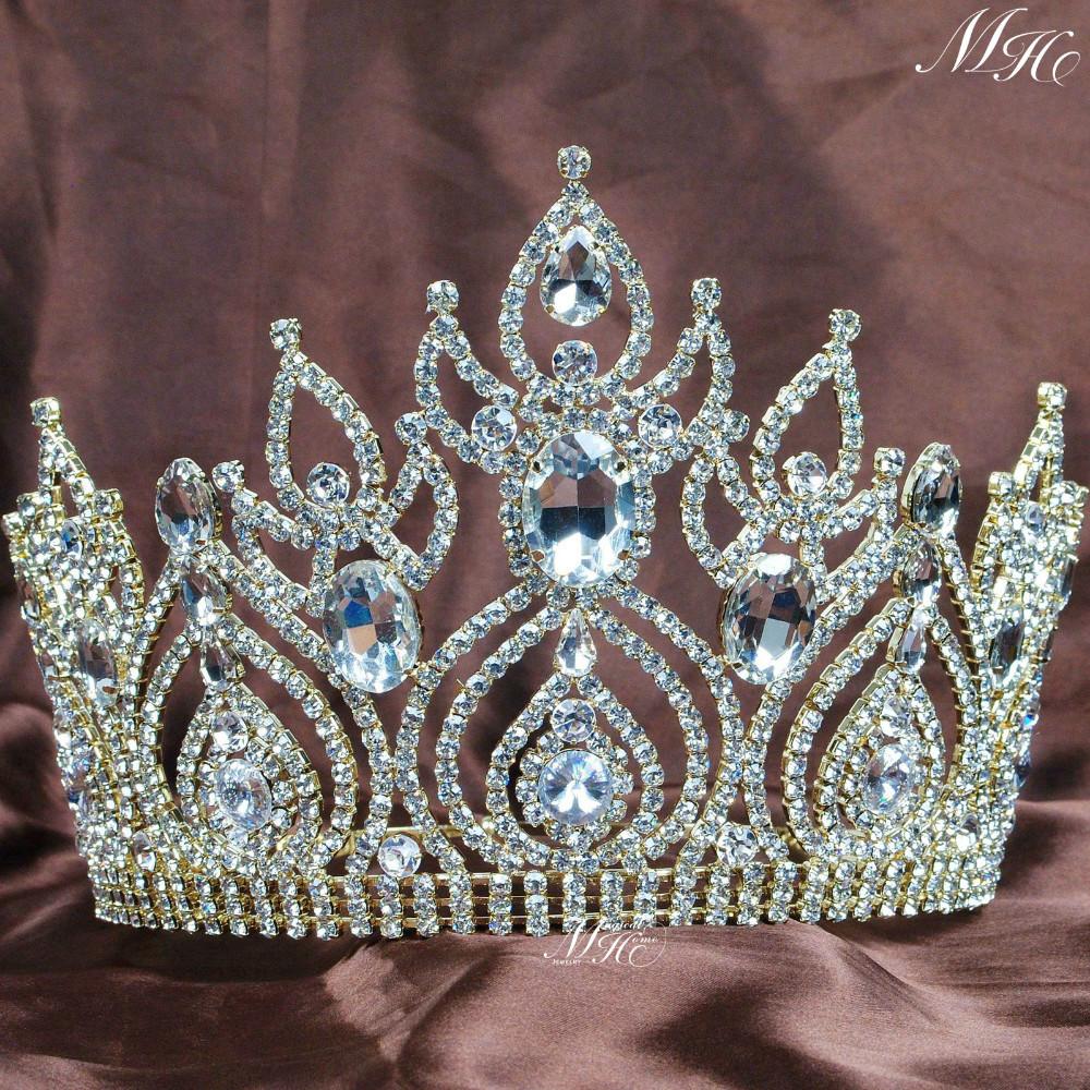 Bride Wedding Crown: Luxurious Gold Plated Tiaras Large Wedding Bridal Crowns