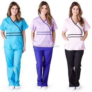 Designer Medical Scrubs Uniform Sets Women's Contrast Mock Wrap Scrub Set With Wrap Top and Flare Leg Pants Medical Scrubs Set