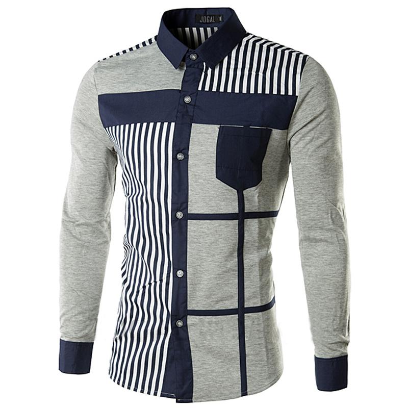 Get Quotations · Men Shirt 2015 Brand New Casual Cotton Mens Dress Shirts  Slim Fit Stylish Design Striped Long 9f8013c217e3