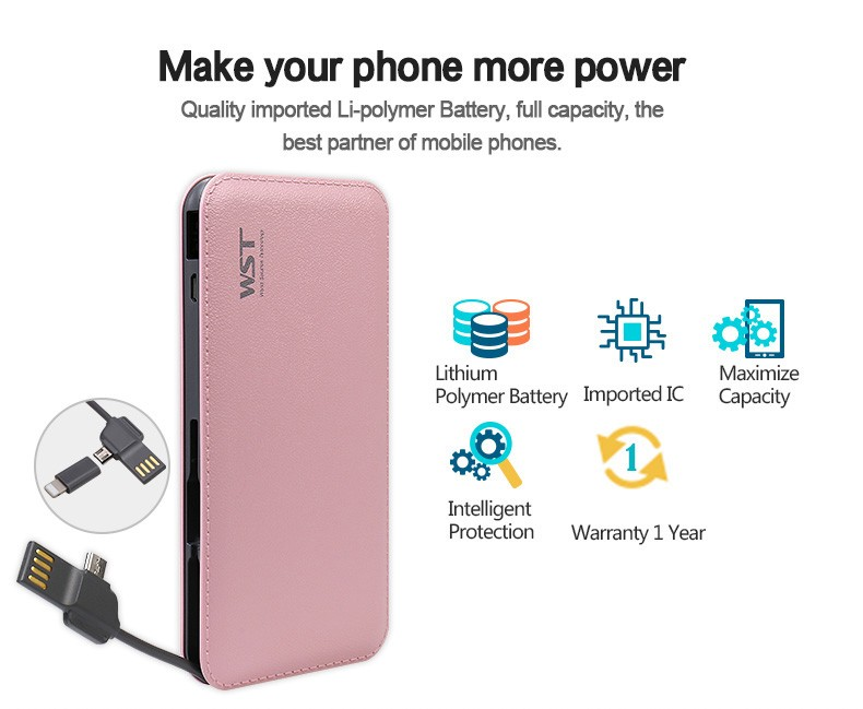 Amazing quality factory price built in cable 9000mah leather power bank