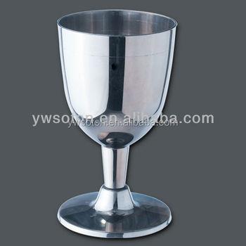 party wine wine glasssilver coated rim plastic wine glasscup