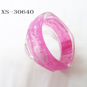 Wholesale pink fabric bracelet bangle resin bangles in square shape