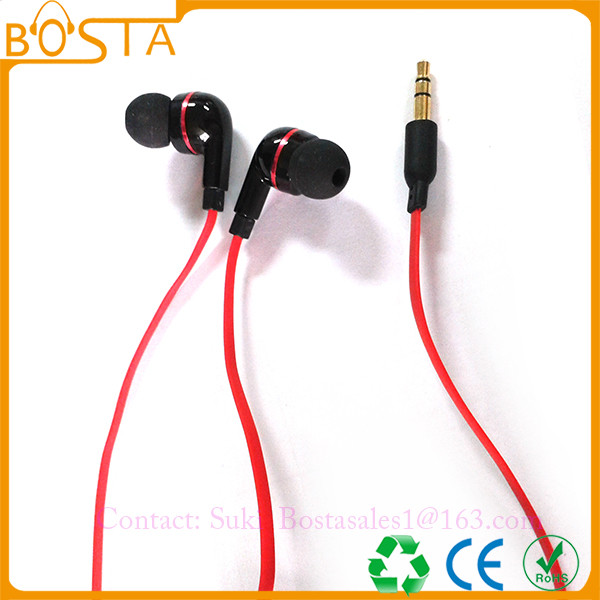 Promotional comfortable communication wholesale fancy flat wired earphones earbuds