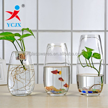 Transparent Glass Vase Fish Bowl Indoor Empty Glass For Decoration