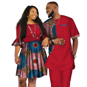 Latest African Fashion Designs Women Skirts and Men Suits Short Sledeve for Couple Apparel WYQ80