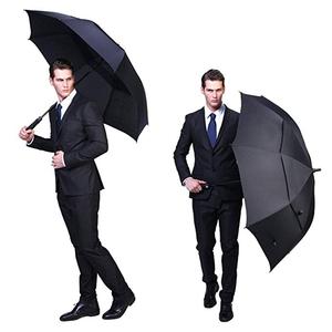 Extra Long Fiberglass Shaft Auto Open Windproof Double Layer Air Vented Golf Business Umbrella Parasol