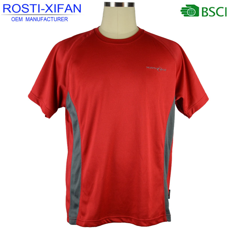Men Breathable Running Outdoor Plain T-Shirts with Short Sleeve and Round Neck