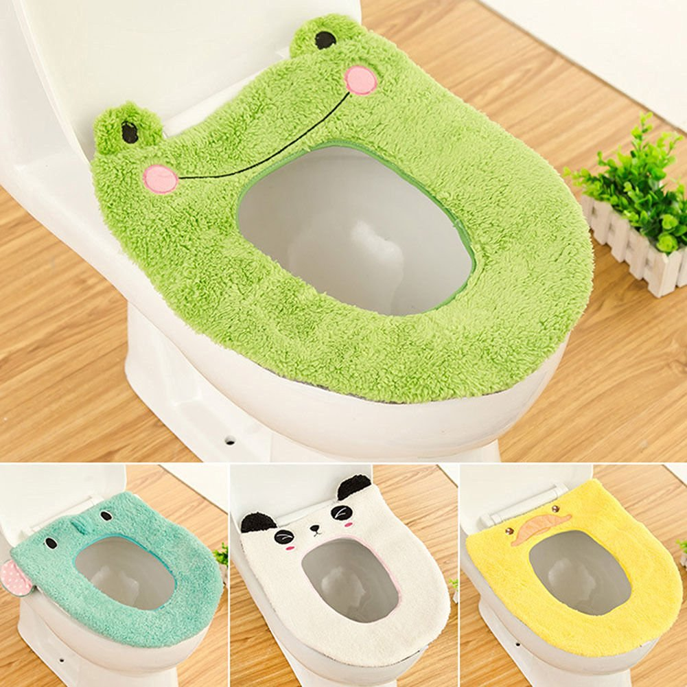 Yosoo Cute Cartoon Bathroom Toilet Seat Cover Soft Warm Washable Velveteen Winter Toilet Seat Warmer Mat Thick Cover Lid Top Closestool Cushion Pad Mat (Frog)