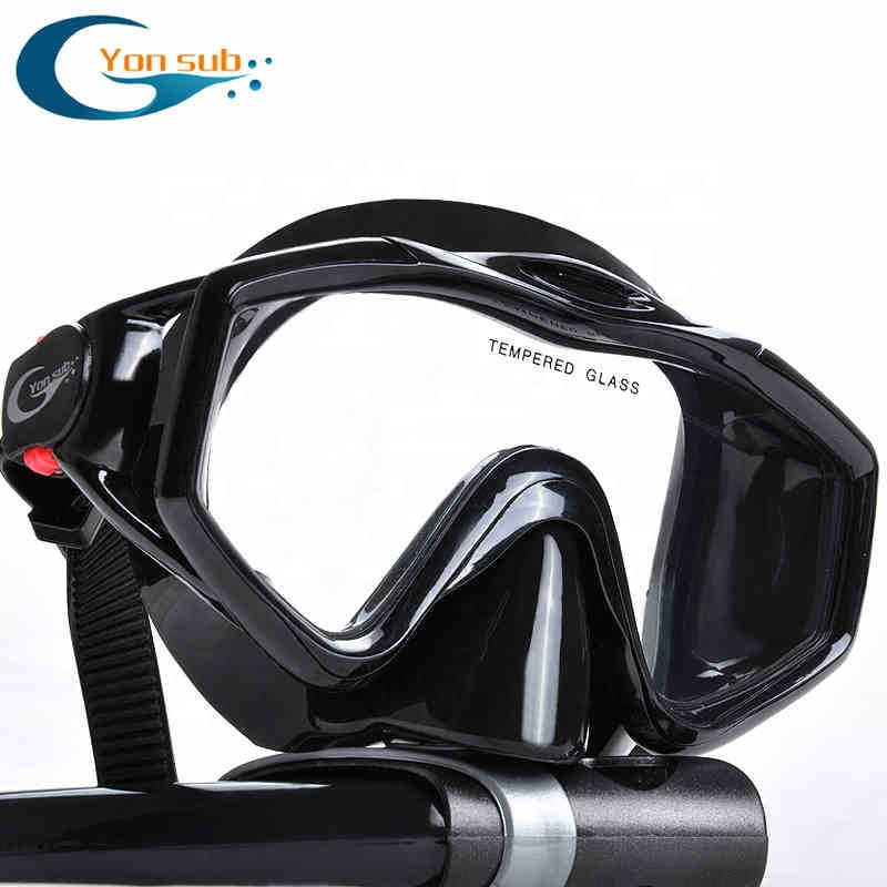 Silicone Temperato di Vetro Professionale Scuba Diving Mask Nuoto Set Diving Mask + Dry Nero Snorkel Per Caccia Subacquea
