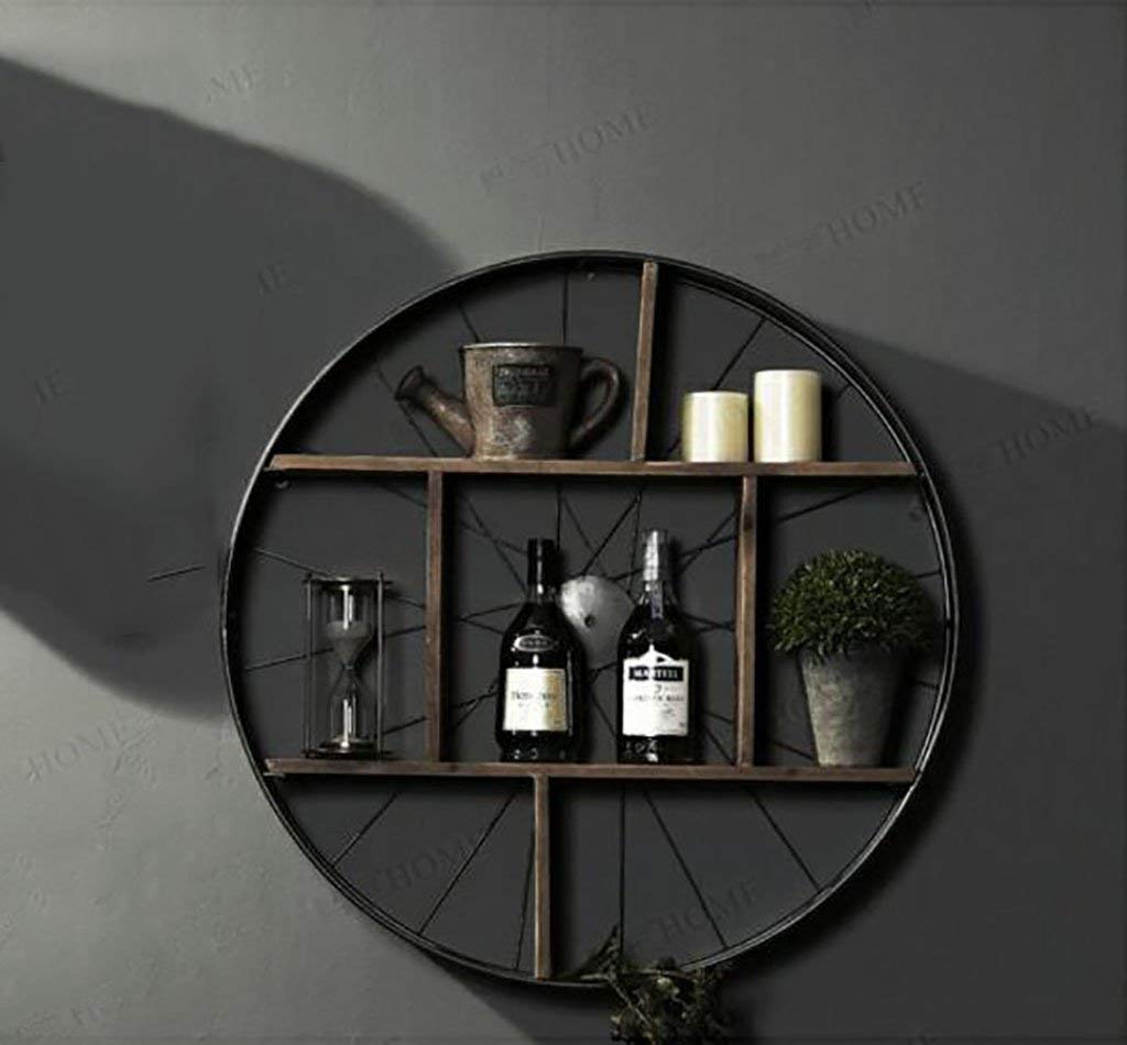 wall bookshelves Wall frame/American village iron solid wood wall partition wall wall rack/multi-function bookshelf/wall decorated wine rack flower shelves (Size : 8018cm)