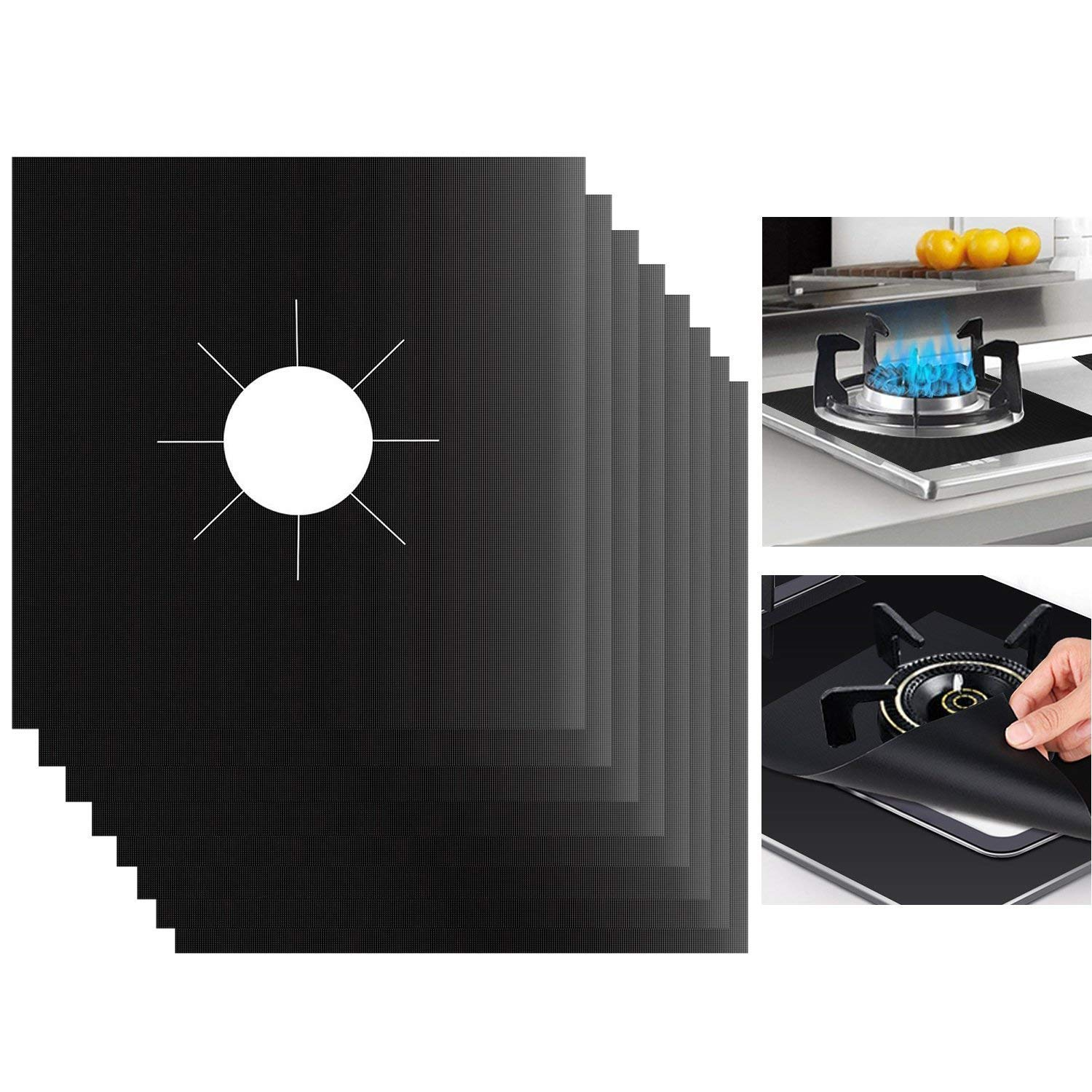 "Heat-resistant for Cooking Gas Range Cover,JUSTDOLIFE Stove Burner Covers 8 Packs Stovetop Burner Liner Thickness Reusable Non-Stick Gas Range Protectors Size 10.6/""x 10.6/"" Dishwasher Safe"