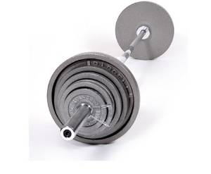 "CAP Barbell OSG 390 pound Olympic Barbell Set - Olympic Bar and Cast Iron Olympic Plates - Old School Gray ""Standard"" Weight Lifting Set"