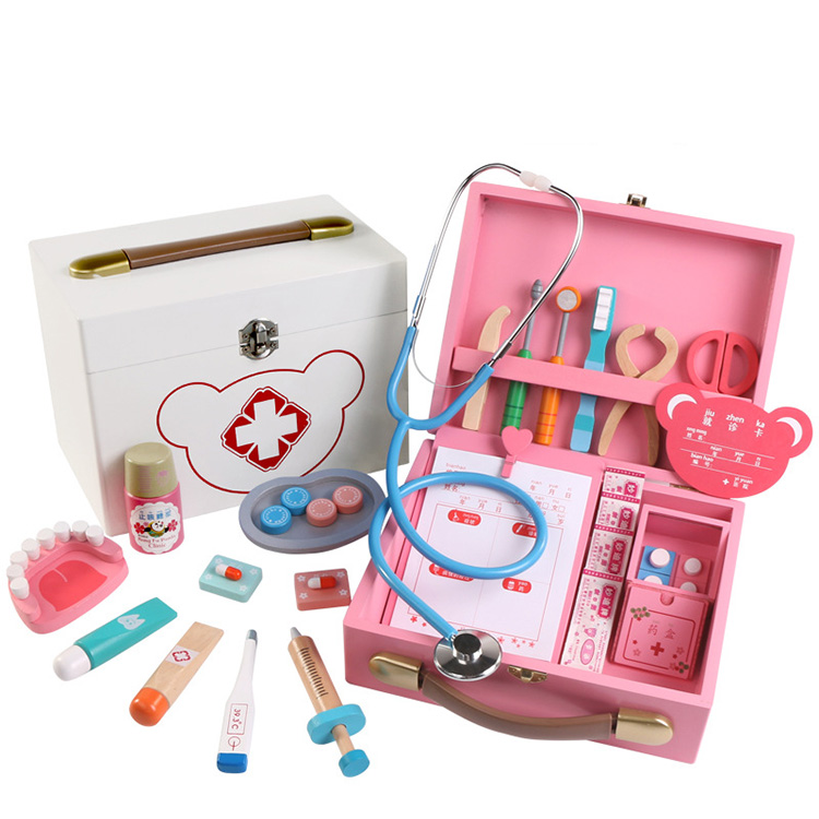 Wooden Funny Pretend Play Real Life Cosplay Doctor Game Toy Dentist Medicine Box Pretend doctor toys for kids