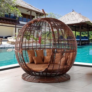 Yizhou Indoor outdoor apple cage shape round bed club hotel rattan sun bed couch portable stand up solarium sunbed tanning bed