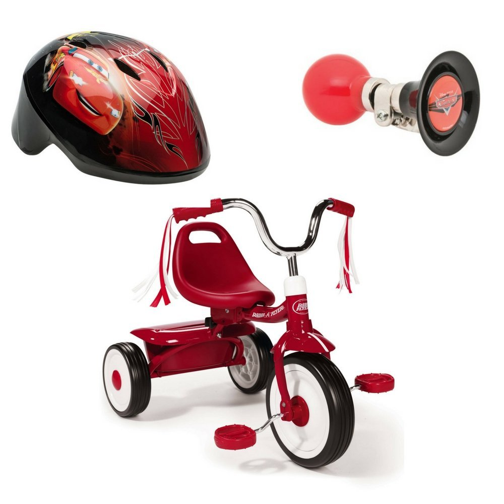 Ready-To-Ride Folding Tricycle, Helmet and Horn Disney cars Bundle -RED (50)
