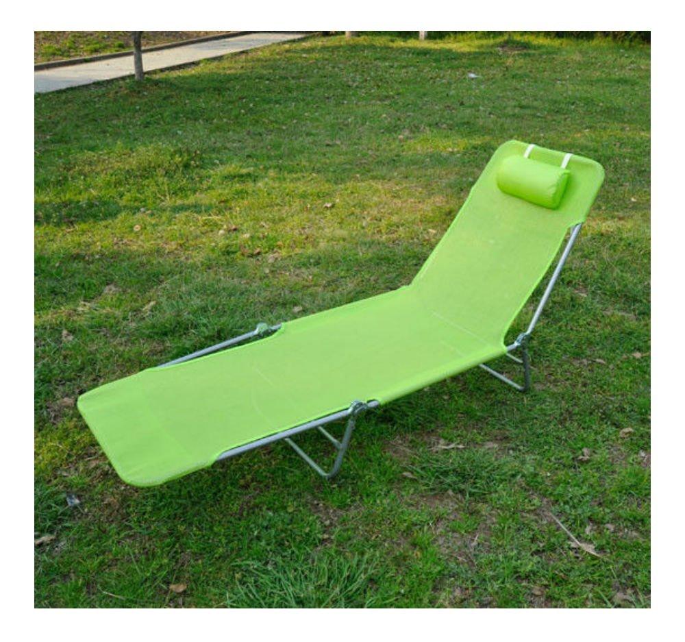 Green Outdoor Folding Reclining Beach Sun Patio Chaise Lounge Chair Pool Lawn Lounger