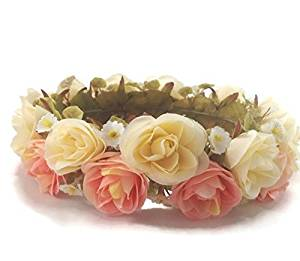 Rose Flower Tiara Wreath Crown Headband :A3 (Peach)