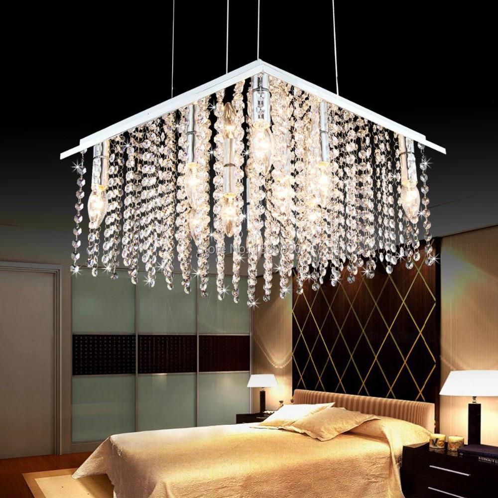 Dining Room Modern Crystal Chandeliers: Modern-square-crystal-chandelier-bedroom-living-room