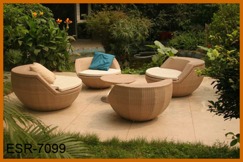 5 pieces ball egg shaped stackable rattan single chairs set outdoor