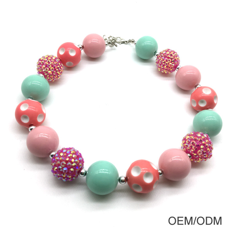 Wholesale Good Price Kids Chunky Bubblegum Beads Children Necklace For Baby Girls Jewelry