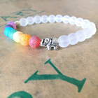 Free Samples Fashion Healing Chakra Elephant Beads Elastic Bracelet For Women