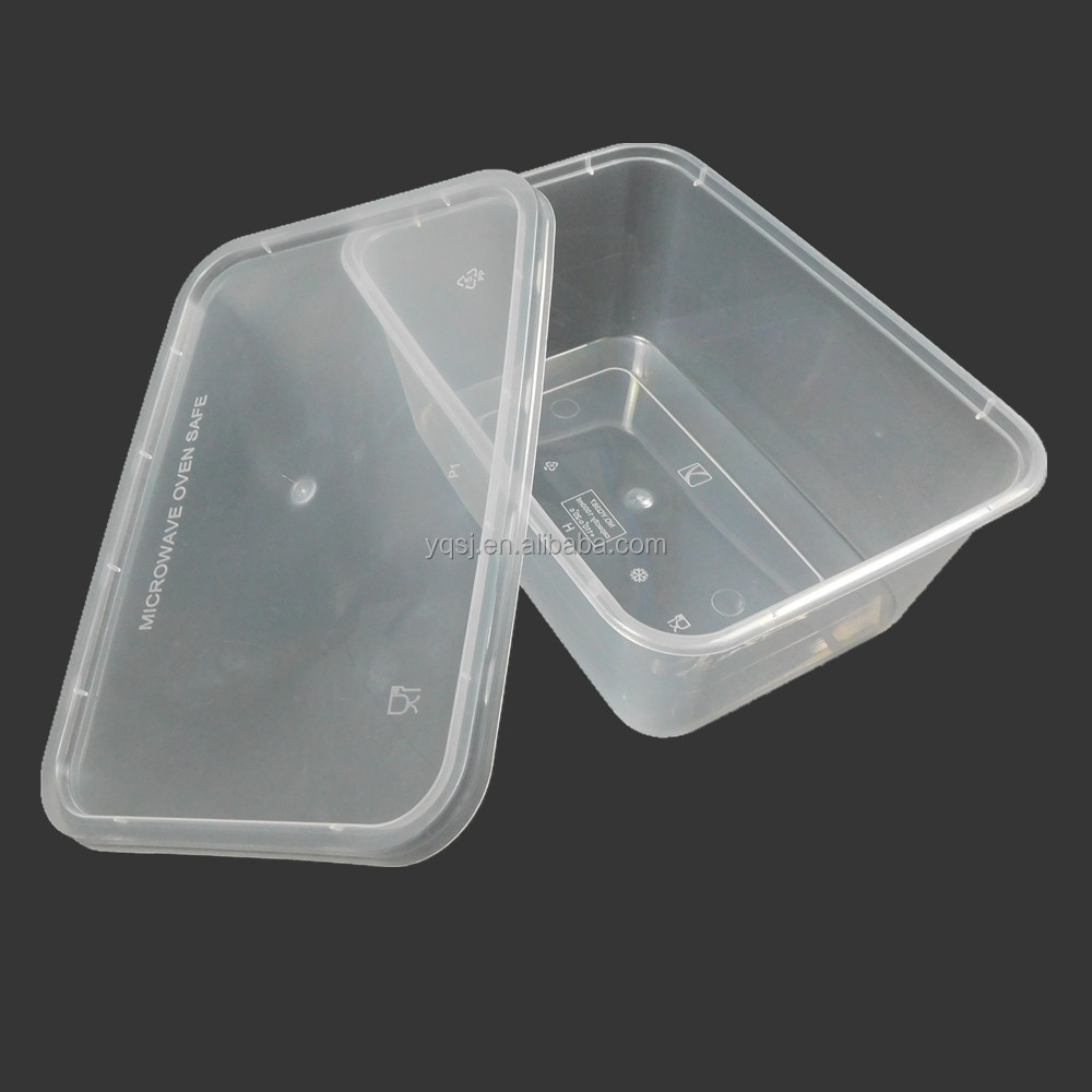 1000ml clear large rectangular disposable plastic / pp food / tiffin packaging container / box with lids supply