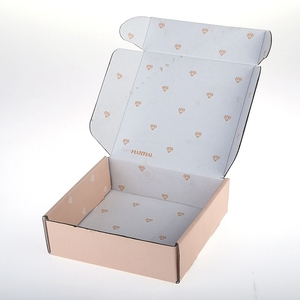 Both sides printed corrugated cardboard paper pink shipping box