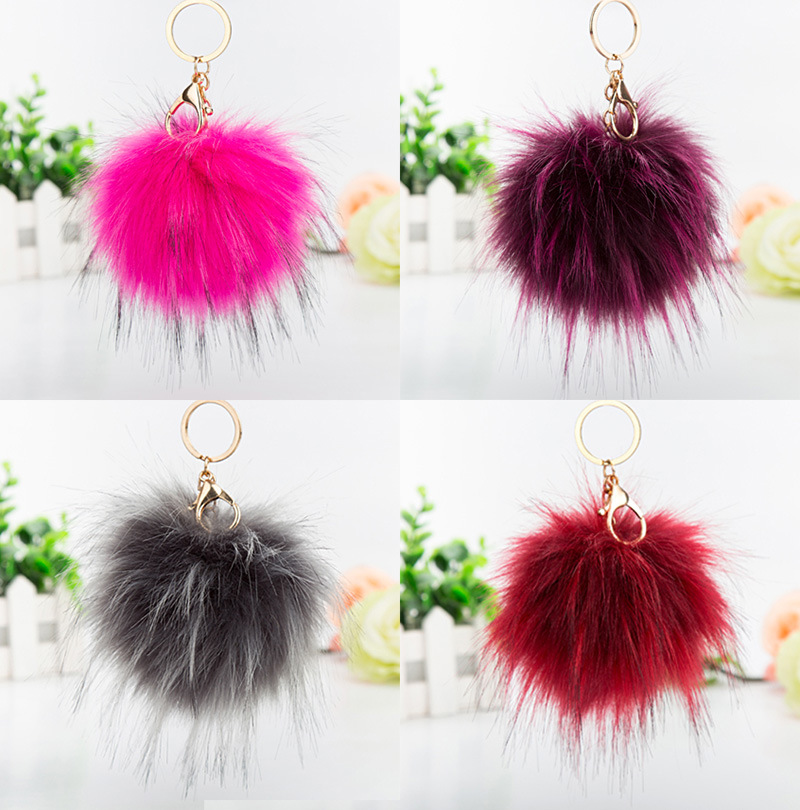 Factory price fashion faux raccoon fur ball pompoms keyring bag detachable fluffy raccoon pom