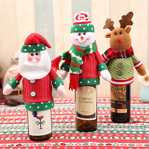 Fashion Wine Bottle Dress And Hat Knit Christmas Knitted Bottle Covers