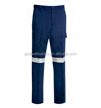 Mens heavy cotton navy blue cargo pants work trousers with reflector