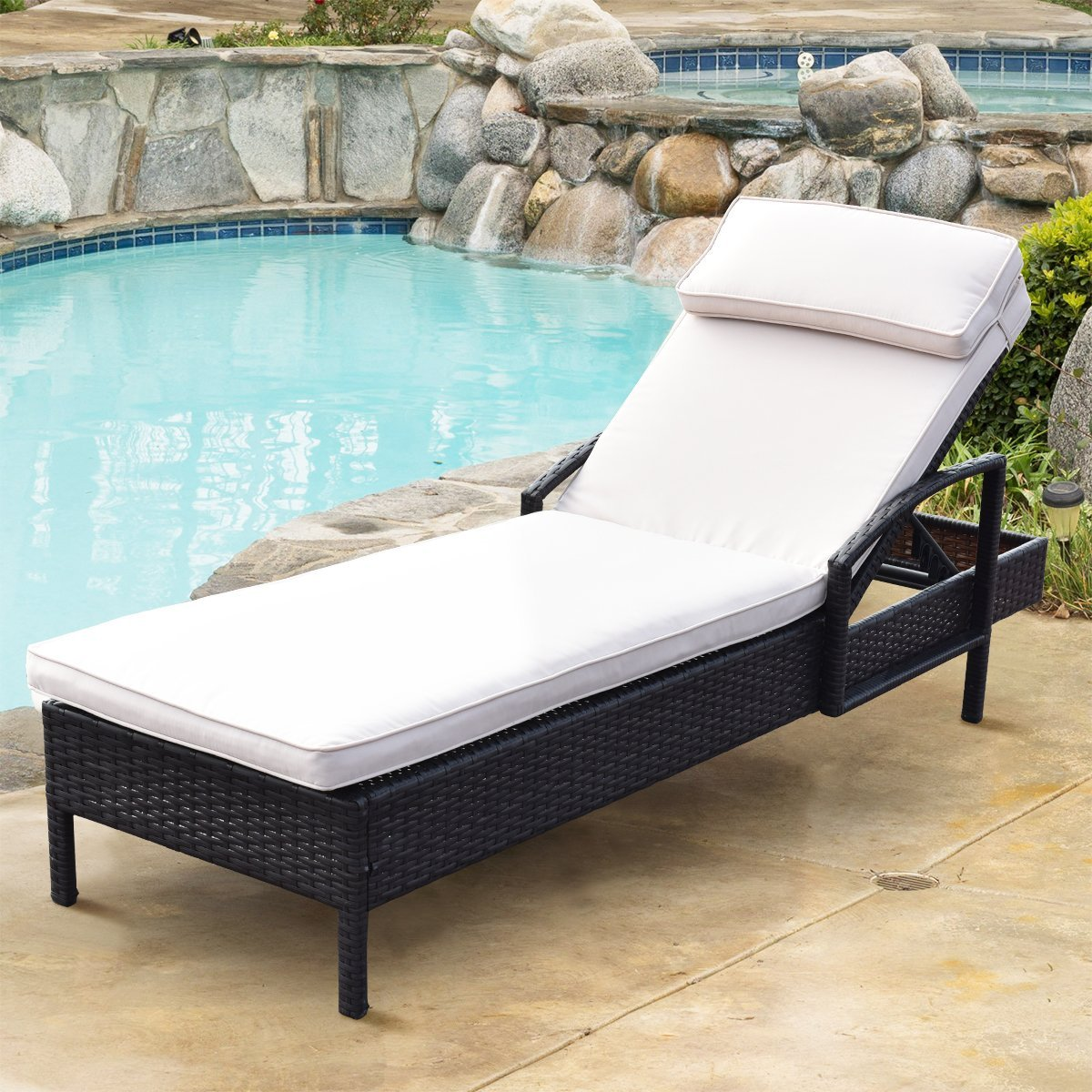 TANGKULA Patio Reclining Chaise Lounge Outdoor Beach Pool Yard Porch Wicker Rattan Adjustable Backrest Lounger Chair (without wheel)