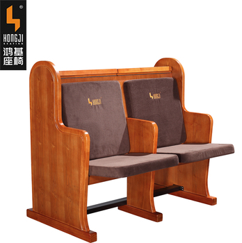 Double Seat Wooden Church Chair With Writing Pad Jt001 S