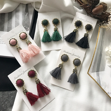 Wholesale winter design fancy cotton tassel earring high quality ladies fashion earrings