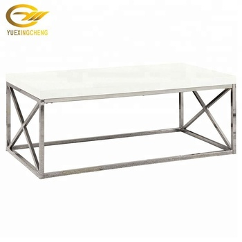 Euro Style White Marble Top Stainless Steel Coffee Table With Metal