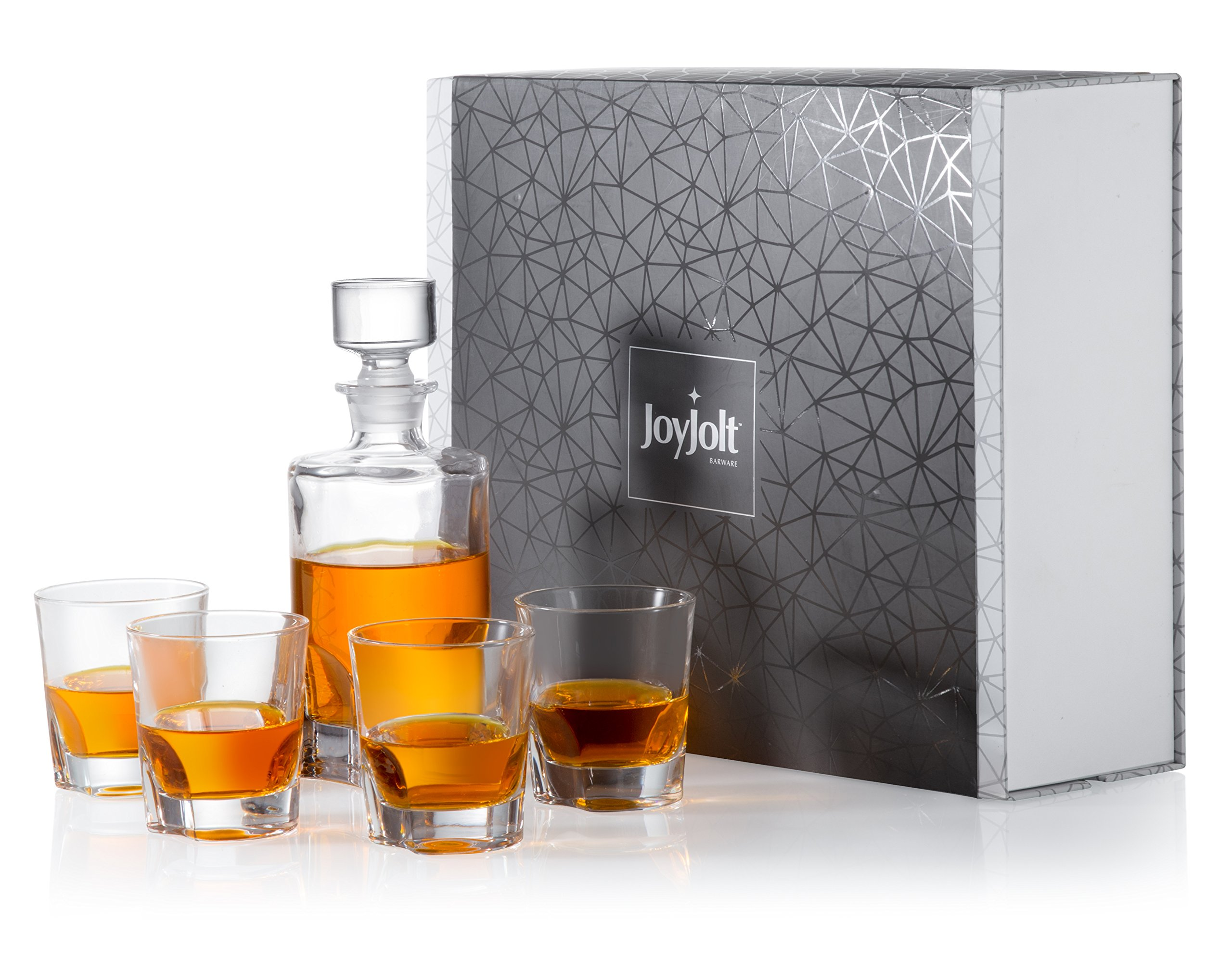 JoyJolt Carina 5 Piece Whiskey Decanter And Glass Set, 100% Lead-Free Crystal Bar Set Prefer For Scotch, Liquor, Bourbon Comes with A Whisky Decanter Sets And 4 Old Fashioned Glasses.