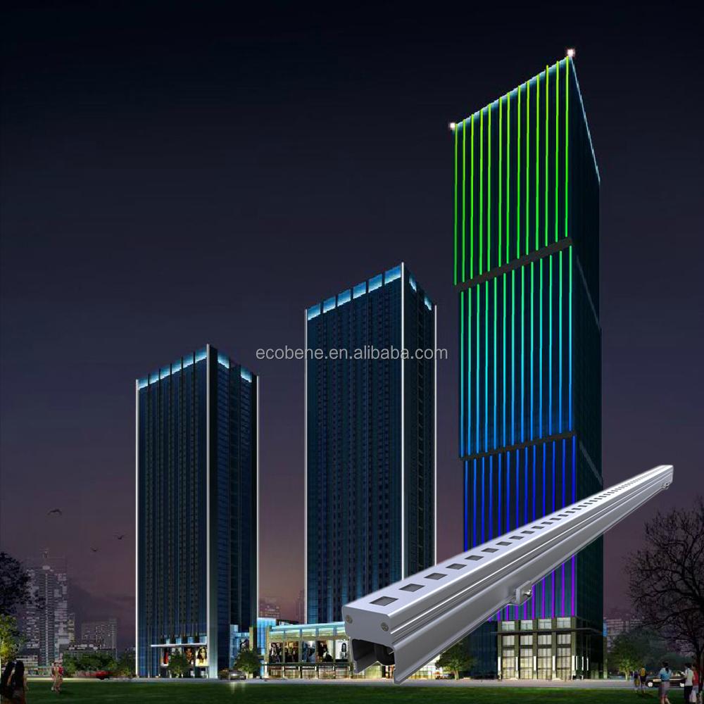 DMX TTL RGB color changing IP65 LED linear light bar facade lighting solution design
