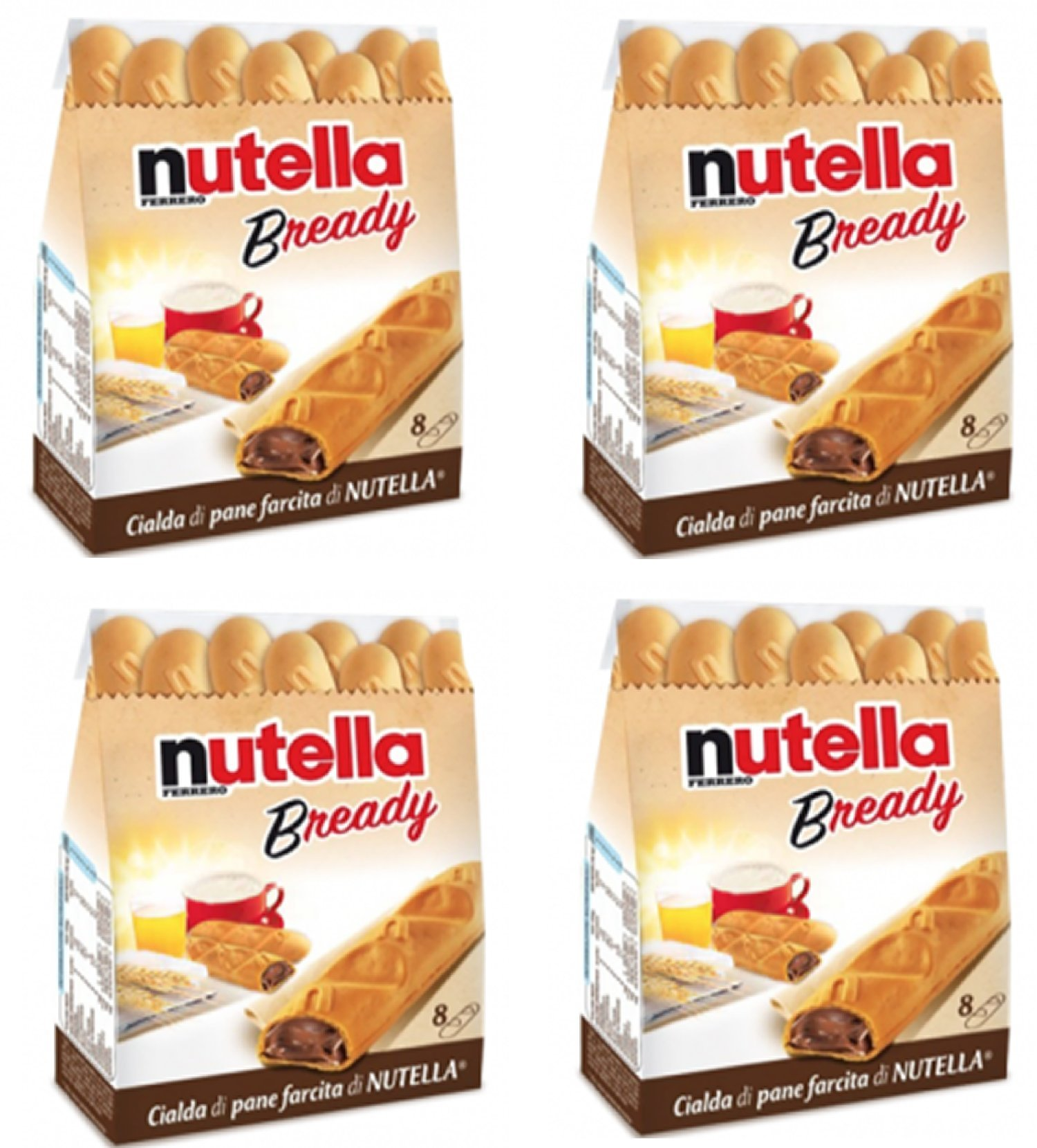"""Ferrero: """"Nutella B-ready """" a crisp wafer of bread in the form of mini - baguette stuffed with a creamy Nutella * 8 pieces * 5.39 oz (153g) * Pack of 4 [ Italian Import ]"""