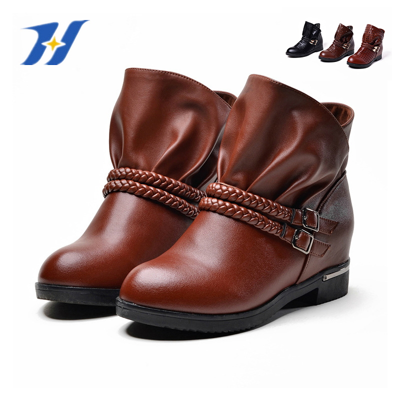 7962e17aff1b Get Quotations · Genuine Leather Women Boots Hole Hole Shoes Metal Buckle  Single Elevator Ankle Boots Lady Big Size