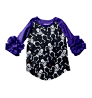 wholesale children icing t-shirts halloween ruffle 3/4 sleeve raglan boutique fall autumn top raglan
