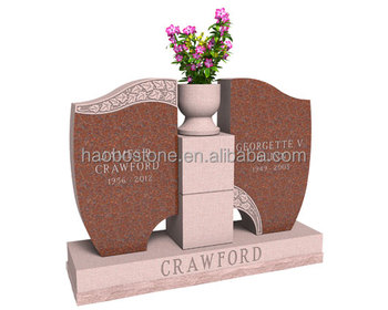 Red Granite Double Monument With Vase