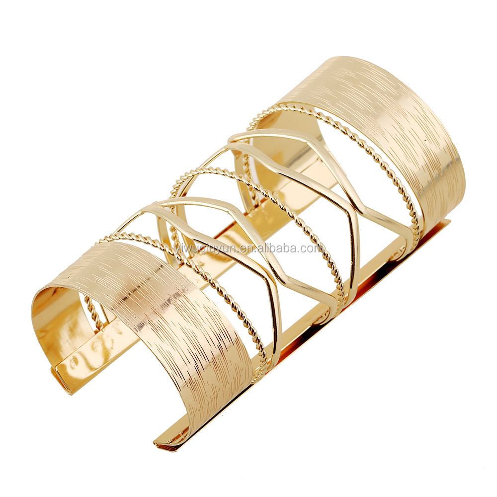 Gold Plated Luxury Design Women Bangles Europe Style Long Cuff Love Simple Bracelets & Bangle For Women