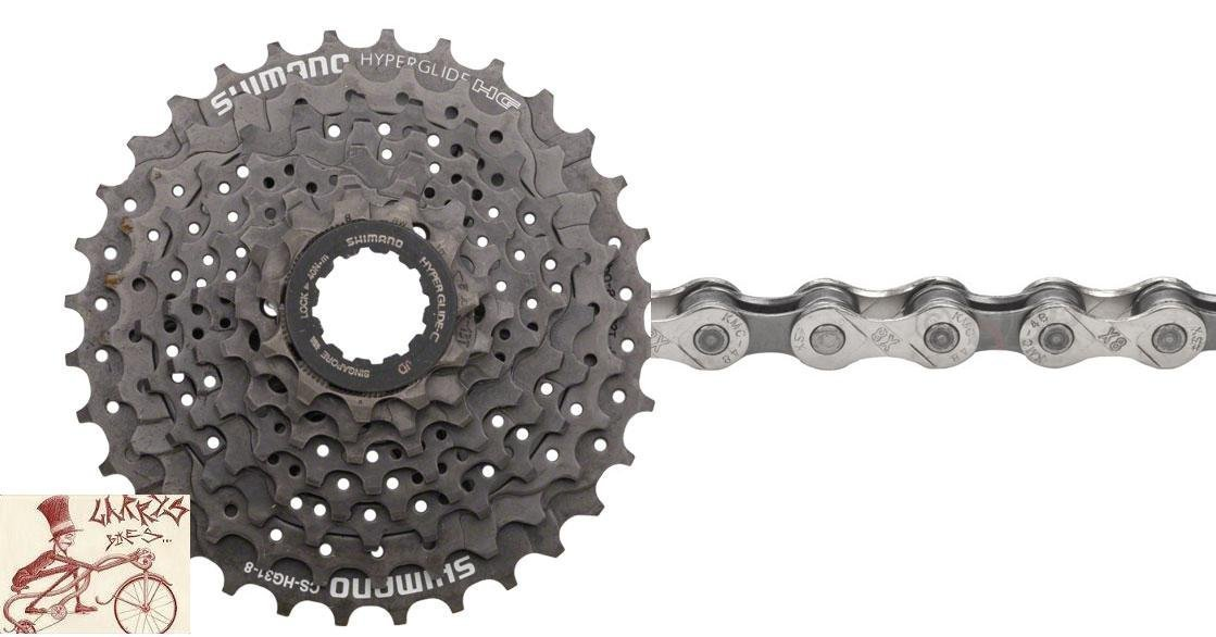 Shimano CS-HG31 Hyperglide 8 Speed 11-34T Bicycle Cassette w/ KMC X8.93 Chain