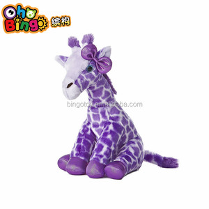 High quality spot purple giraffe shaped stuffed plush toy plush animal toy for kids
