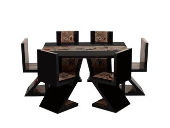Stupendous 11B1014Tpcs79 Cubist Insprized Z Shaped Dining Set Buy Dining Set Dining Room Furniture Dining Table And Chair Product On Alibaba Com Machost Co Dining Chair Design Ideas Machostcouk