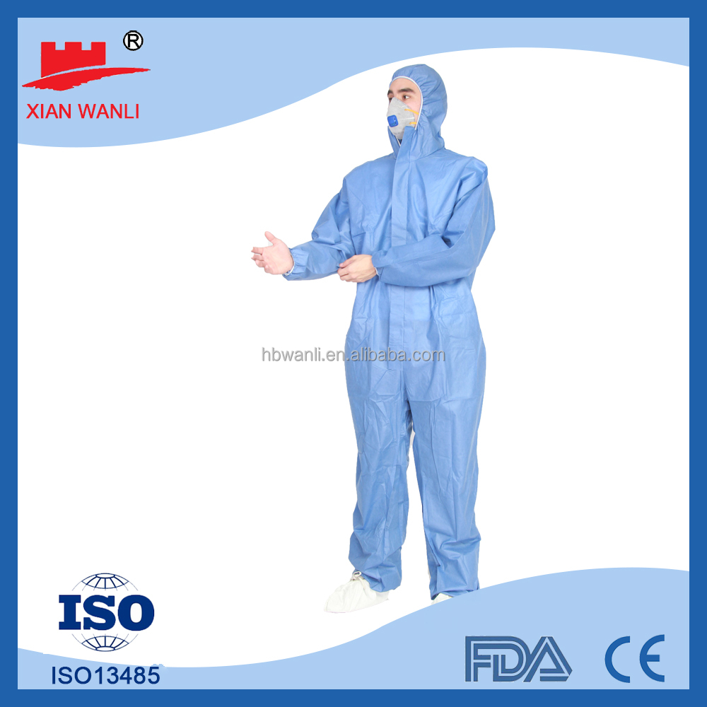 TYPE 5/6 certified Blue SMS COVERALL disposable