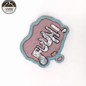 New Style Letter Sequin Embroidery Patch,Pink Color Embroidery With Sliver Sequin Patch#L30003
