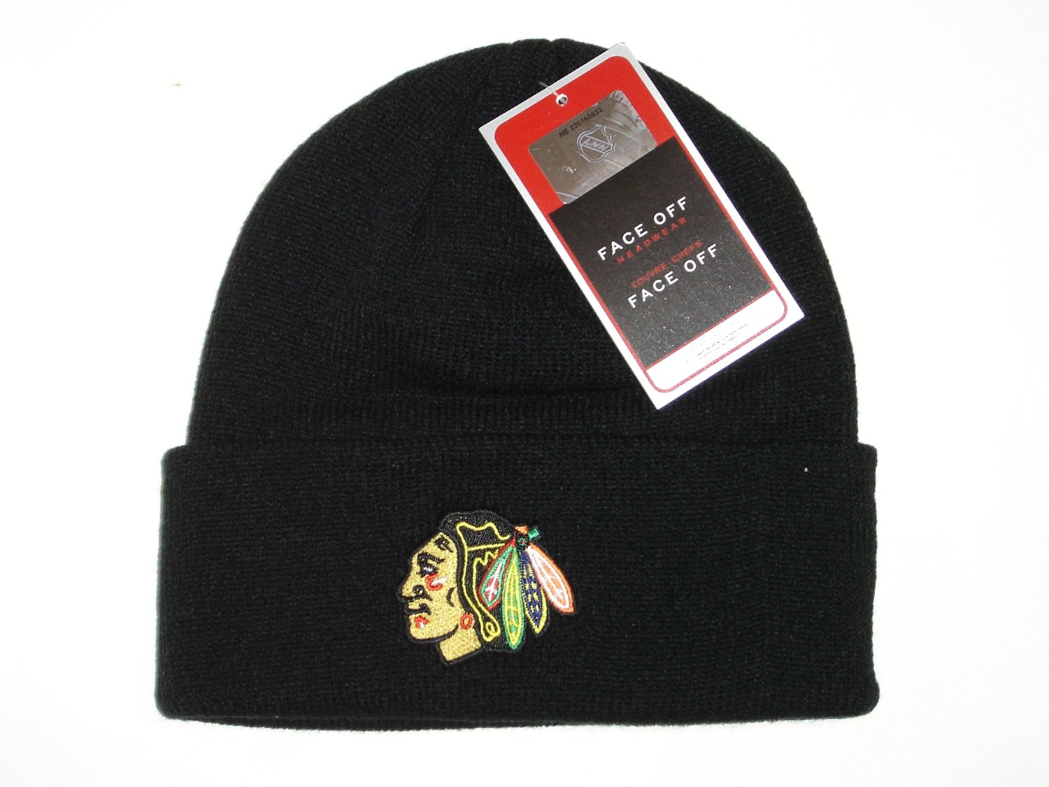 24886d2fd88262 Get Quotations · Authentic NHL Chicago Blackhawks Logo Classic Black Cuffed  Knit Beanie Cap Hat