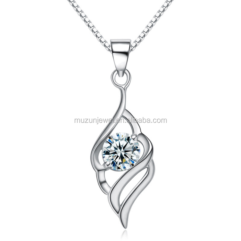 2017 Hot Real 925 Sterling <strong>Silver</strong> White&Purple AAA CZ Diamond Pendant for Necklace