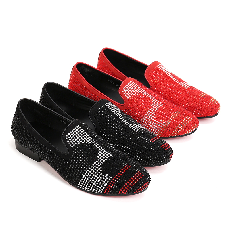NX005 Top Quality Men'S Luxury Crystal Black Shoe Fashion Designer Flat Studd Loafers Men Casual Red Bottom Dress Shoes